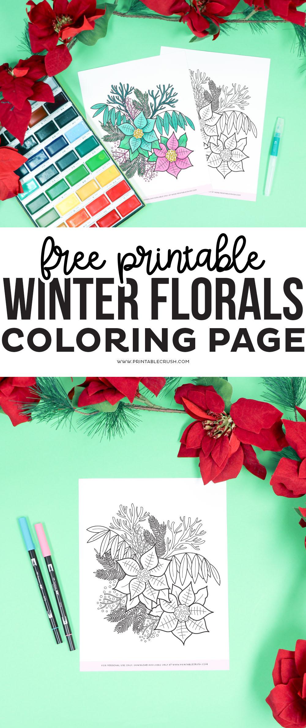 Winter Floral Free Coloring Sheet - free coloring sheet - free winter coloring page - free winter coloring sheet - Printable Crush