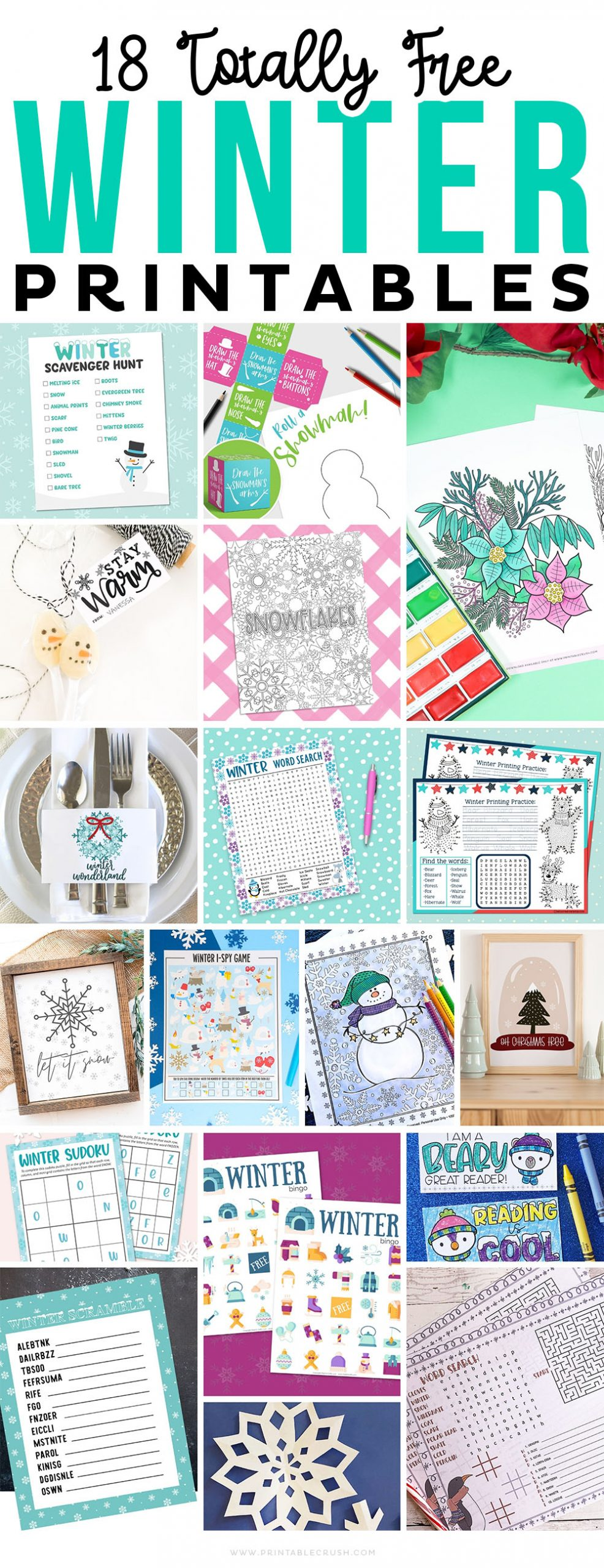 18 Free Winter Printables - Holiday Gift Printables - Free Winter Printable Activities - Free Printable Winter Activities - Printable Crush #winterprintables #winteractivities