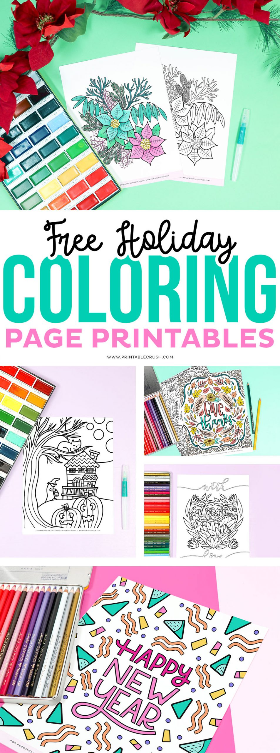 Free Holiday Coloring Page - Free Printable Holiday Coloring Pages - Printable Crush