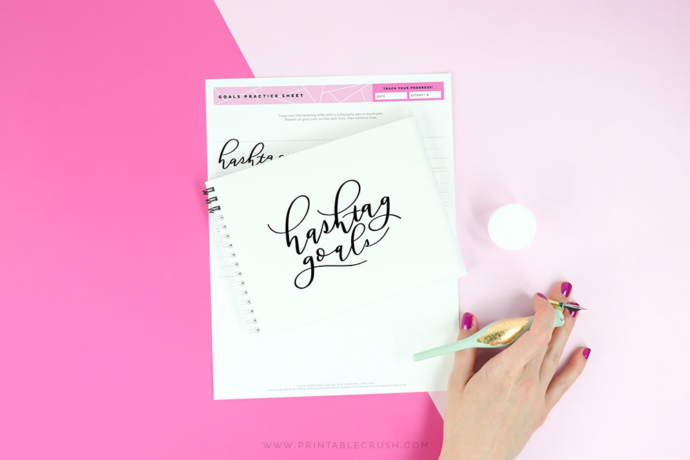 Goals Calligraphy Practice - Hand Lettering Worksheets - Printable Crush