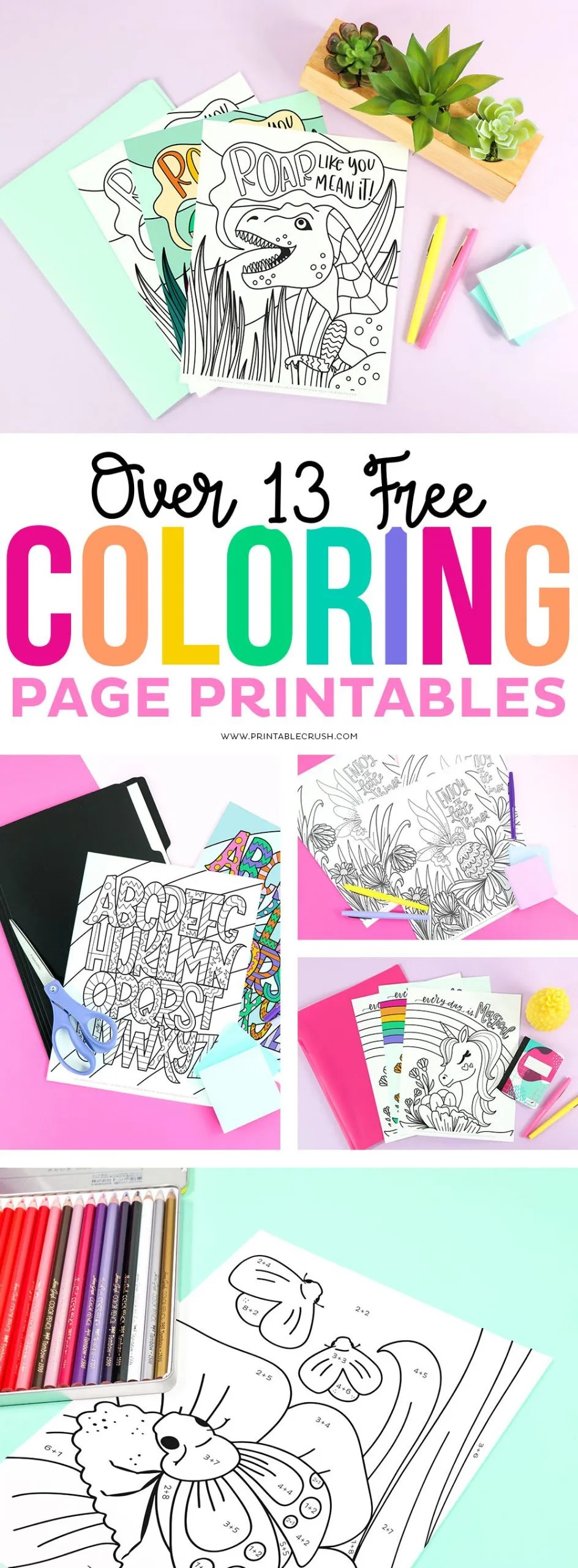 Over 13 FREE Printable Coloring Pages - Free Coloring Pages - Free Hand Drawn Coloring Pages - Printable Crush