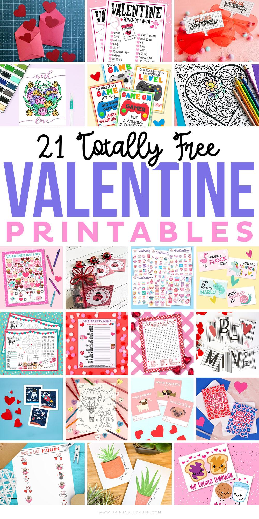 21 Free Valentine's Day Printables - Printables for Valentine's Day - Valentine Printables -Printable Crush