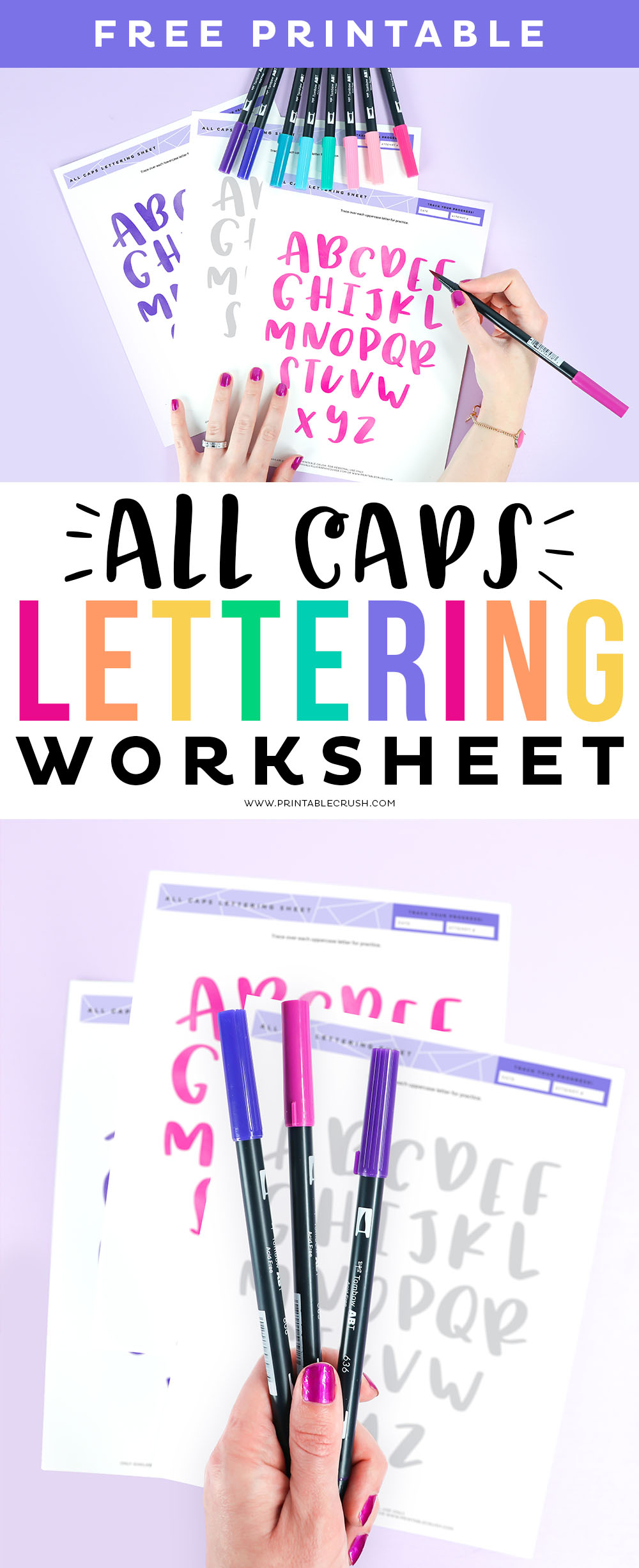 Brush lettering isn't just for cursive! Use this ALL CAPS Brush Lettering Practice Page to learn a new lettering technique. #brushlettering #allcapslettering #capitalletters #lettering #brushletter #practicelettering via @printablecrush