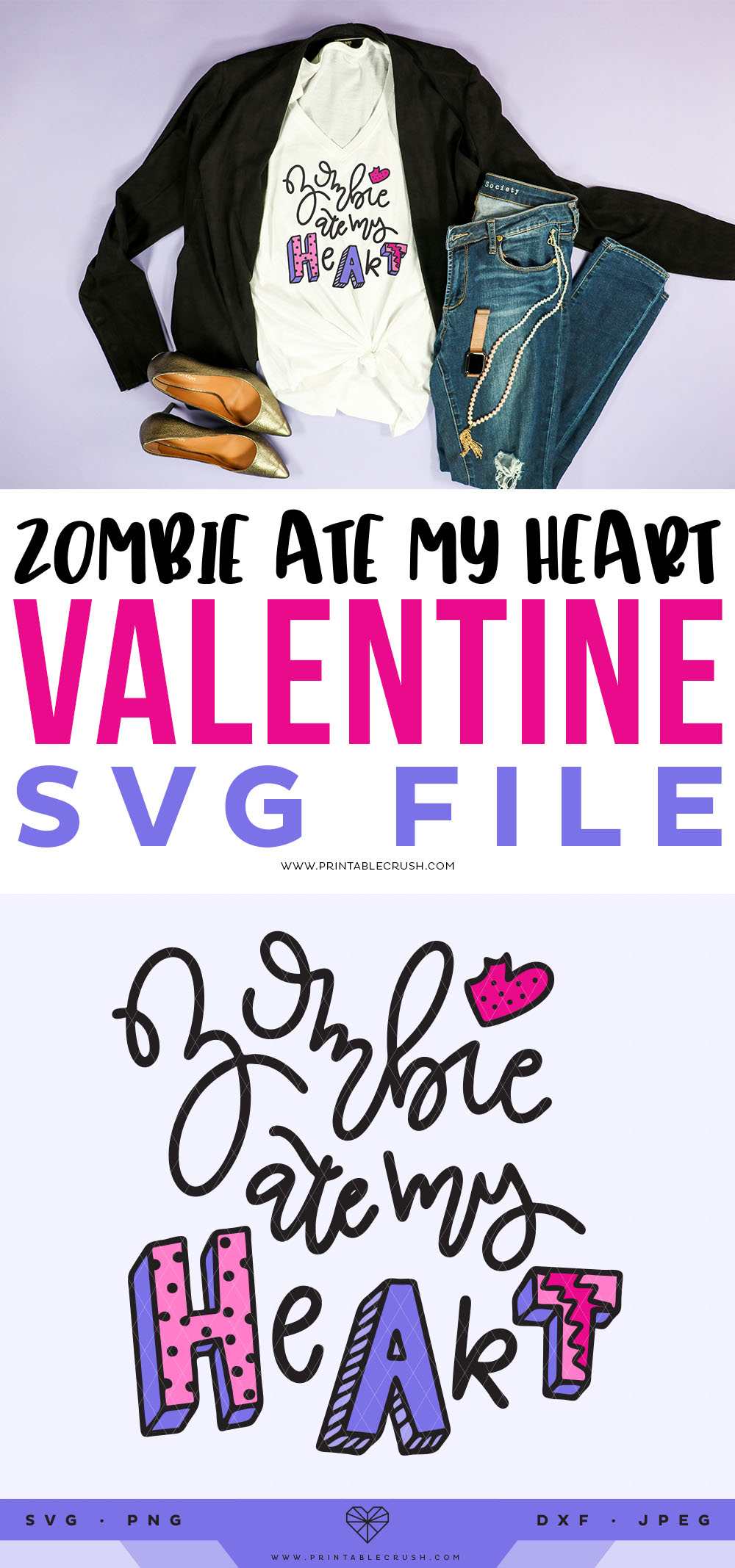 Anti-Valentine Free SVG File - Free Valentine SVG File - Zombie Ate My Heart SVG File - Printable Crush