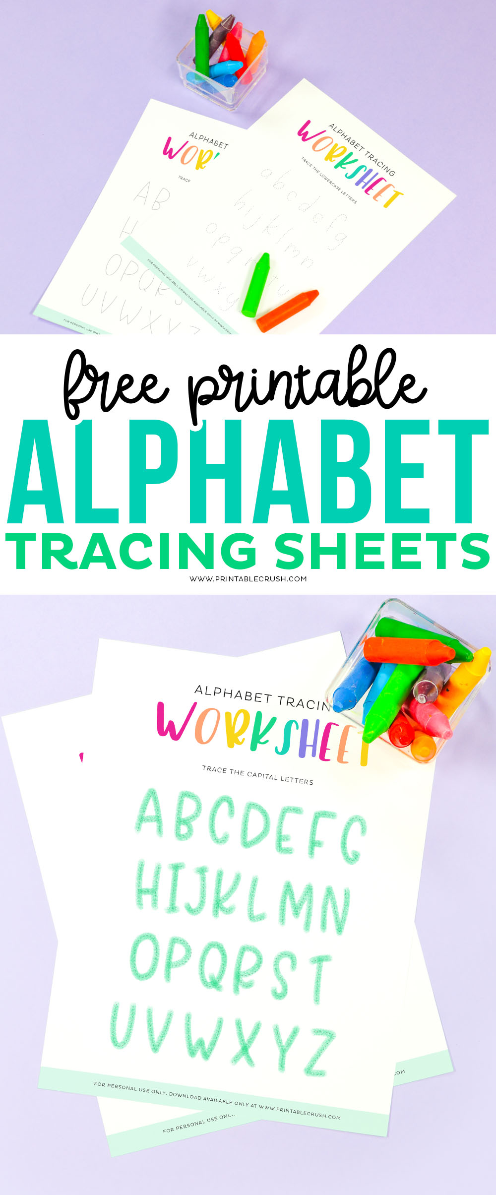 Free Printable Alphabet Tracing Sheets for Kindergarteners and Preschoolers - Preschool Alphabet Activity - Kindergarten Alphabet Printable - Printable Crush #freeprintable #preschoolprintable #alphabetprintable #freealphabetprintable #alphabetworksheet #learnletters via @printablecrush