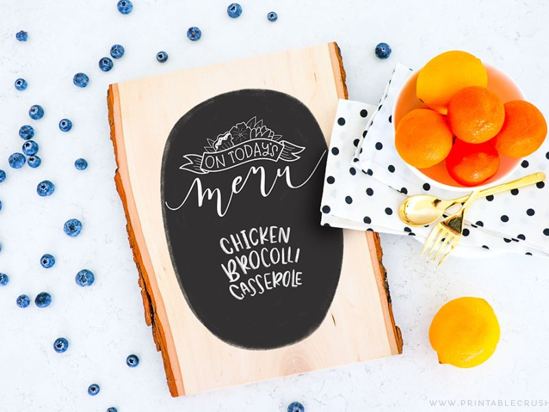 Wood Kitchen Sign - Wood Menu Sign - Chalkboard Sign - Chalkboard Kitchen Sign - Cricut Kitchen Sign - Printable Crush