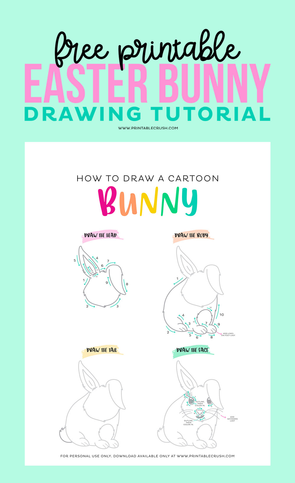 How to Draw an Easter Bunny Free Printable Drawing Tutorial - Cartoon Easter Bunny Drawing Tutorial - Printable Crush
