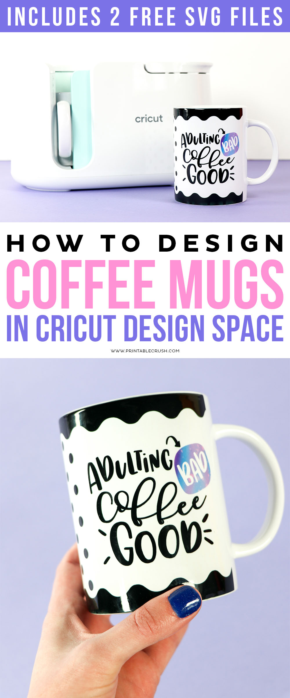 Learn how to upload SVG Files to use for Mugs in Cricut Design Space to use with your Cricut MugPress. Includes a FREE Coffee Quote SVG File! via @printablecrush