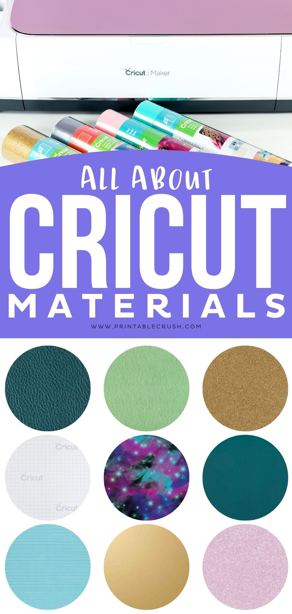 What is the Difference between materials and uses for the Cricut? Let me tell you all about Cricut Iron-On, Vinyl, Infusible Ink, and MORE! #ad #cricut #cricutmade #cricutmaterials via @printablecrush