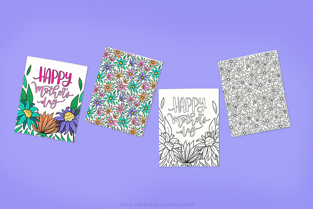 Free Mother's Day Card you can Color