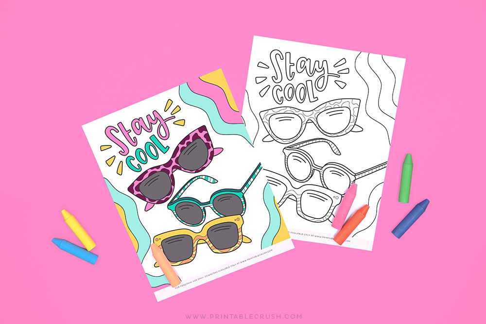 Free Printable Sunglasses Coloring Page