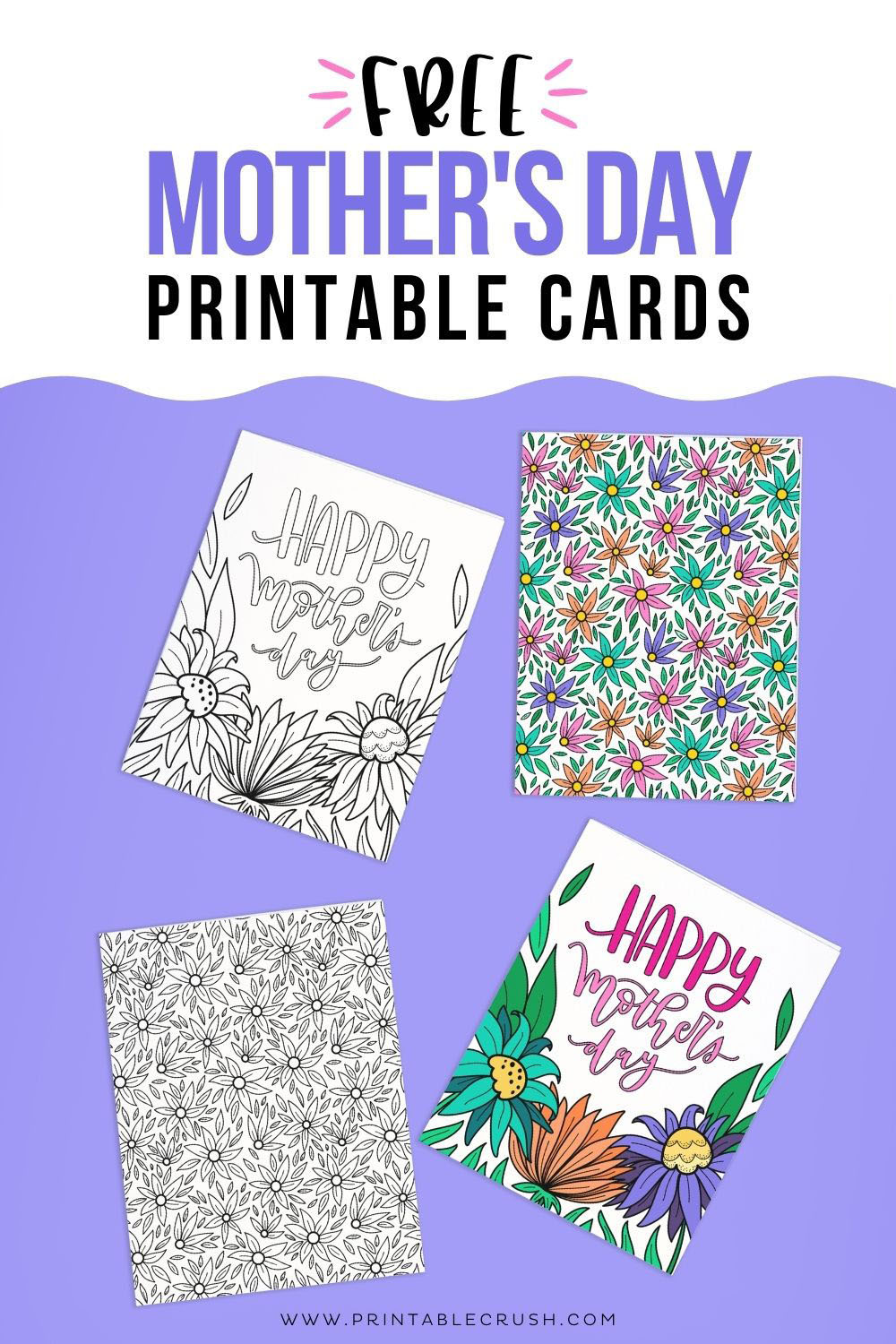 Free Printable Mother's Day Coloring Page - Mother's Day Cards - Color in Mother's Day Cards - Printable Crush
