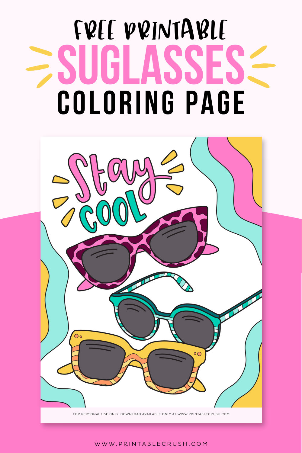 Free Printable Sunglasses Coloring Page - Free Summer Coloring Page - Printable Crush