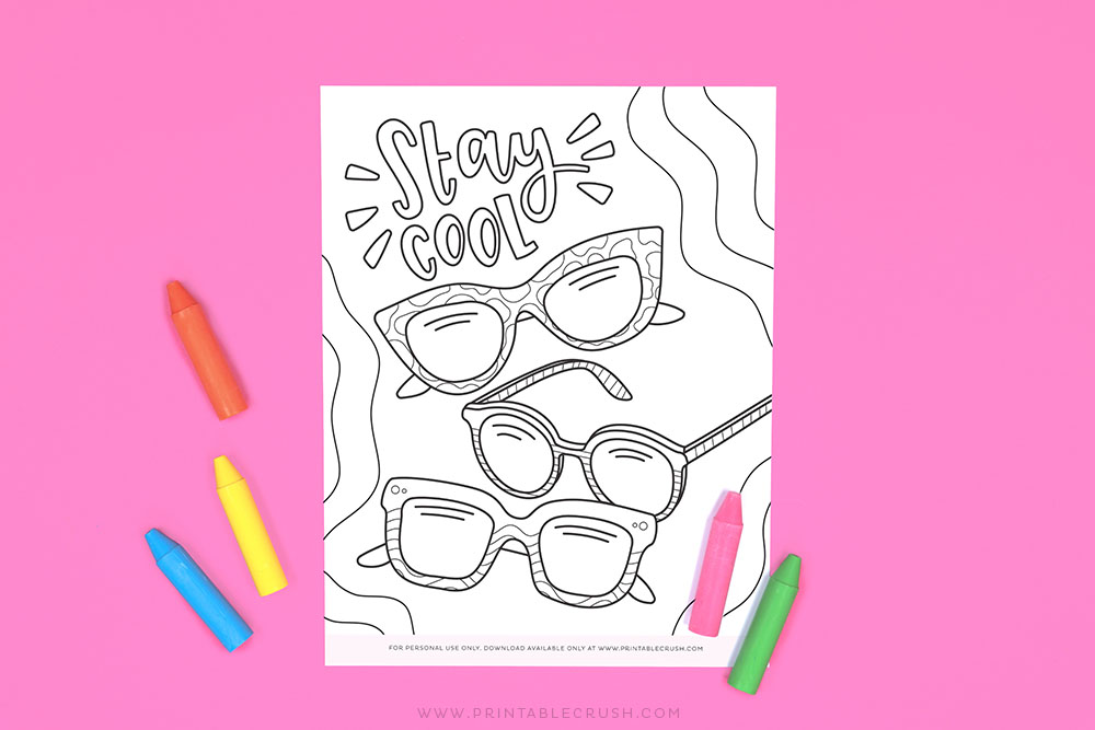 Free Stay Cool Coloring Page - Hand Drawn Coloring Page - Free Coloring Page Summer Activity - Printable Crush