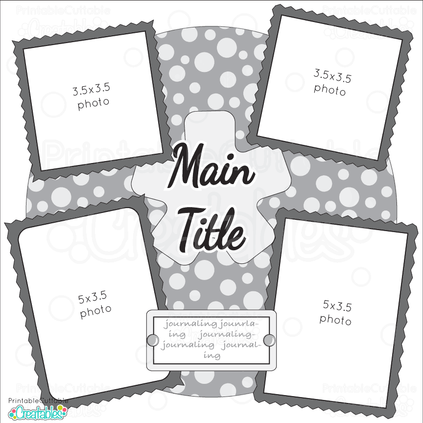 Single Page 12x12 Free Printable Scrapbook Sketch