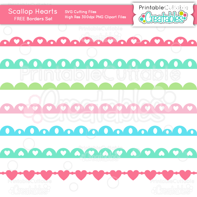 Download Scallop Hearts Borders Set SVG Cutting Files & Clipart