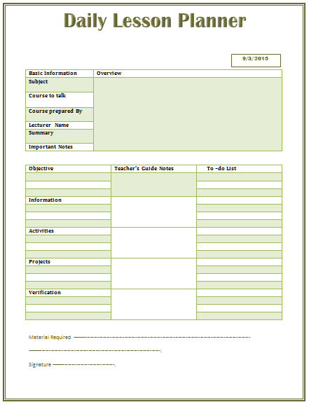 Daily Lesson Plan Template For Middle And High School