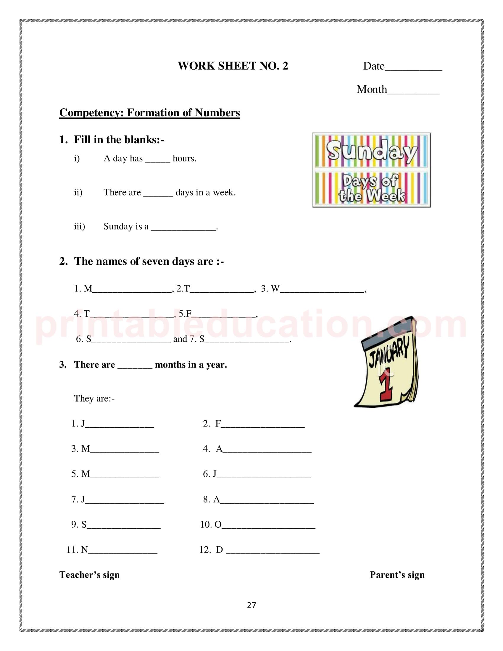 25 Math Calendar Worksheet For Kids