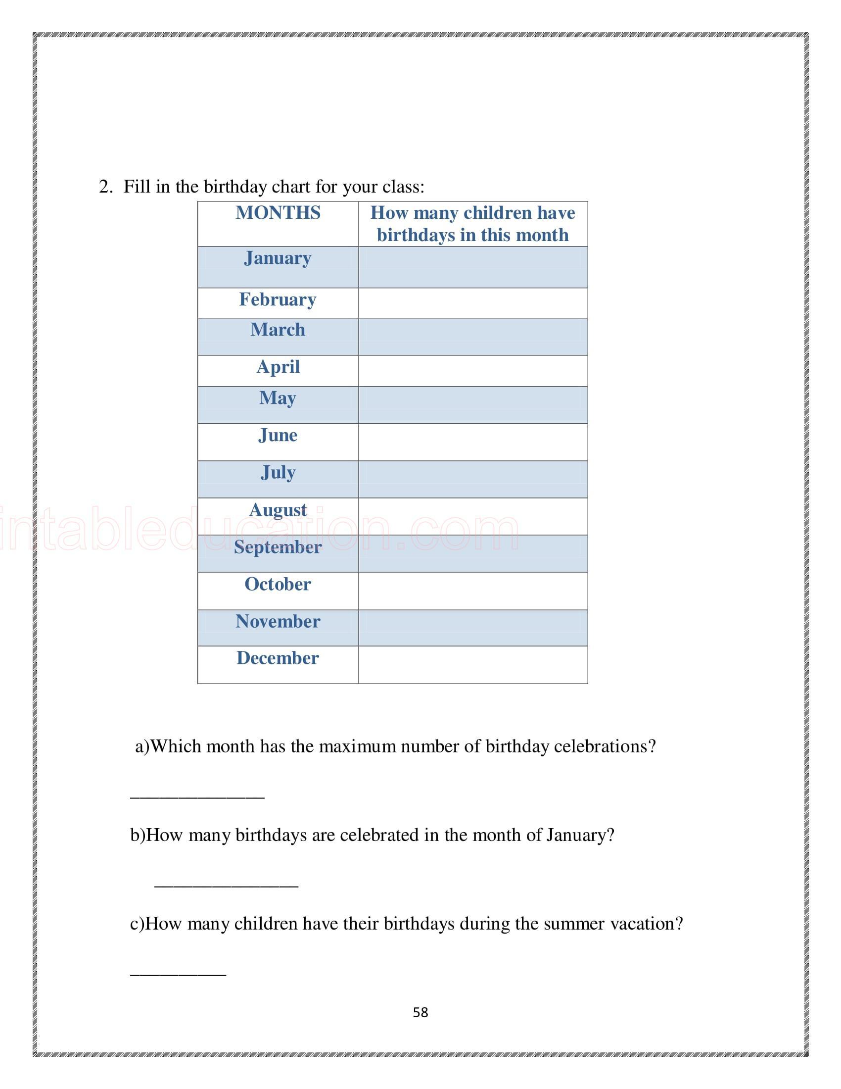 25 Math Calendar Worksheet For Kids