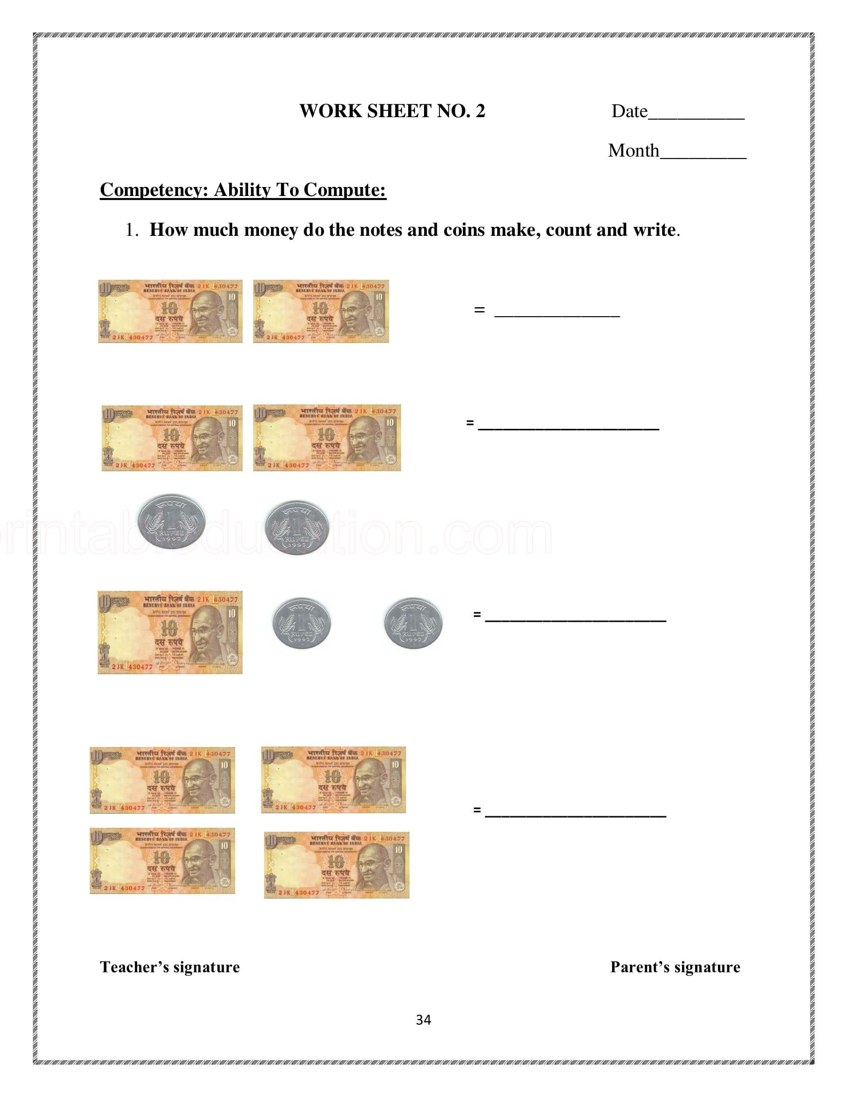 10 Math Money Worksheet For Kids