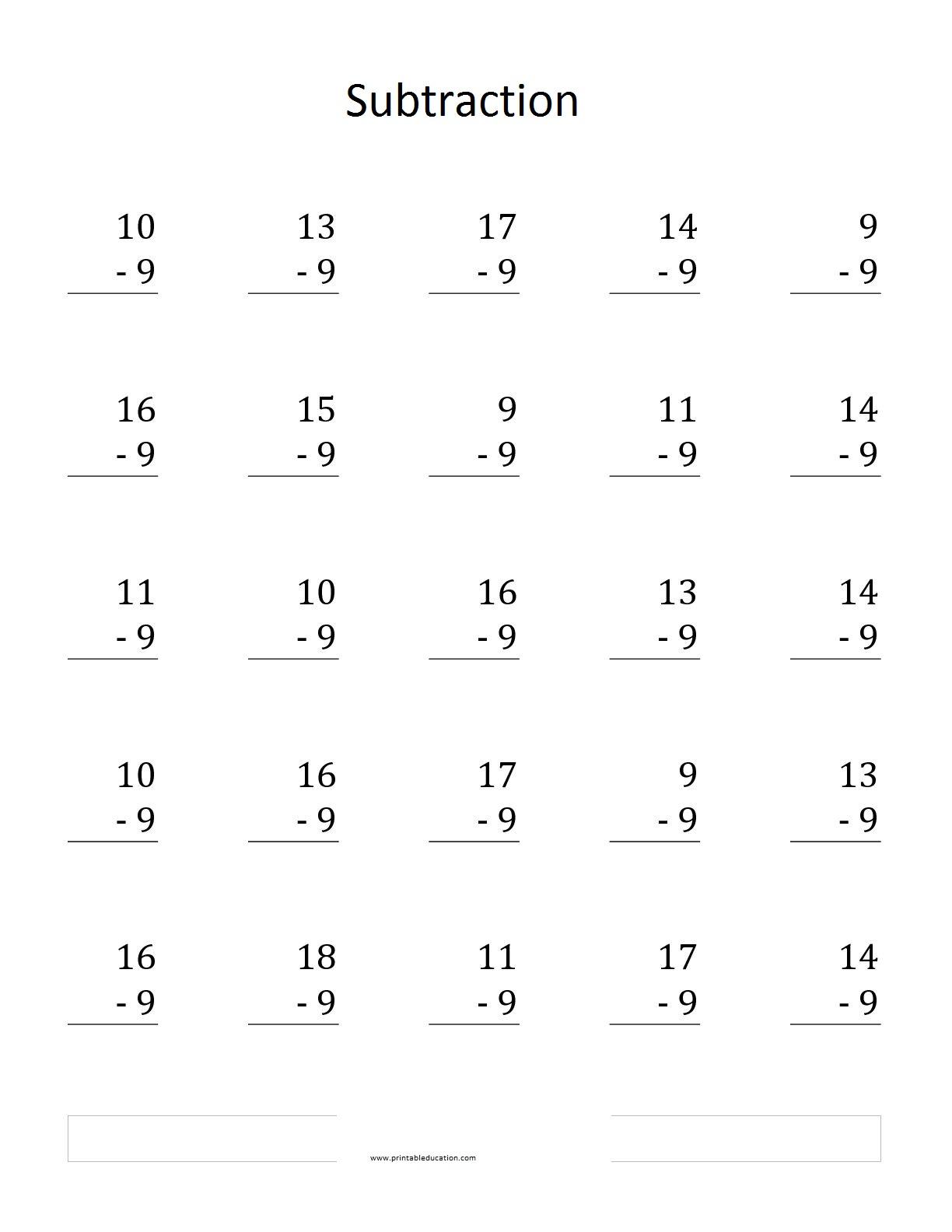 25 Subtraction Worksheet Amp Word Problem