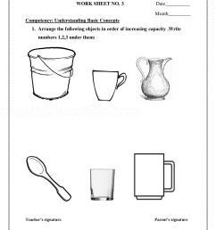 Measurement Capacity Worksheet Kindergarten   Printable Worksheets and  Activities for Teachers [ 2200 x 1700 Pixel ]