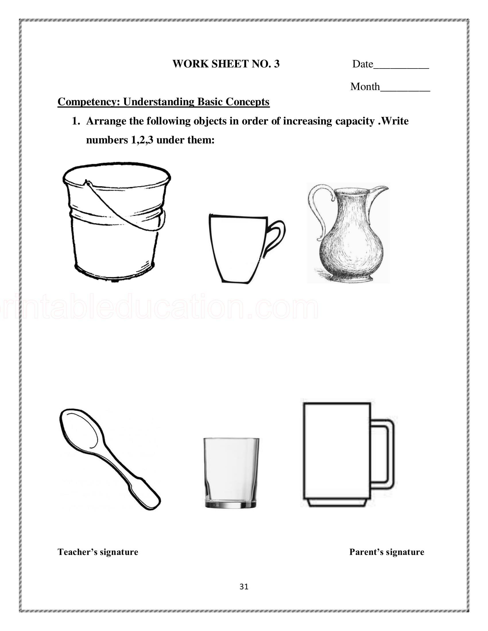 hight resolution of Measurement Capacity Worksheet Kindergarten   Printable Worksheets and  Activities for Teachers