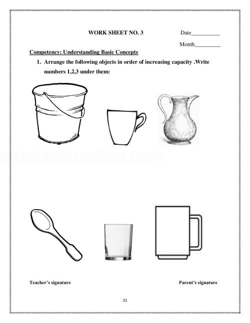small resolution of Measurement Capacity Worksheet Kindergarten   Printable Worksheets and  Activities for Teachers