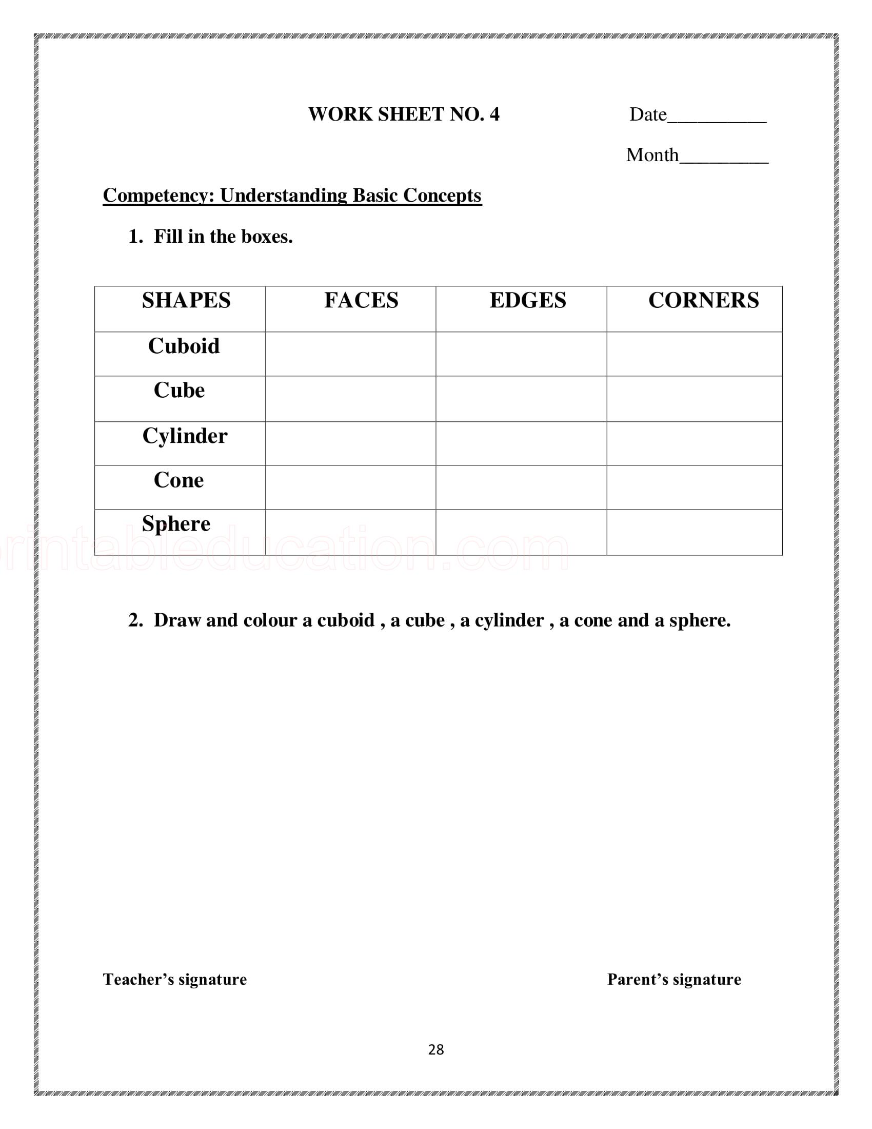 hight resolution of Basic Math Shapes Worksheets For Kids   PrintablEducation