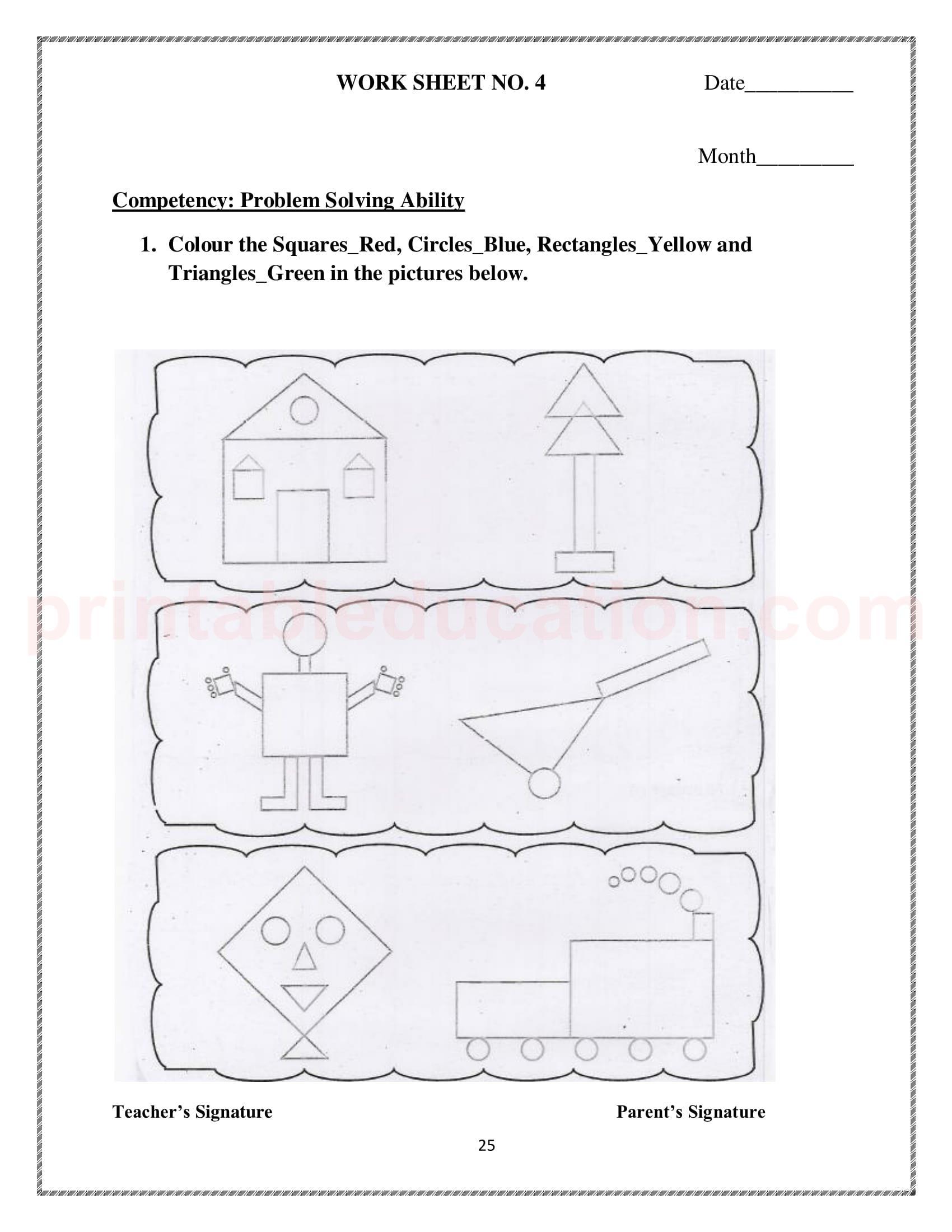 Basic Math Shapes Worksheets For Kids