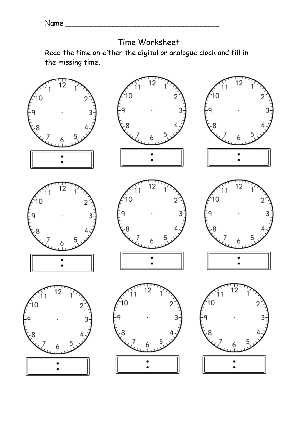 hight resolution of Telling Time Clock Activity Worksheets   PrintablEducation