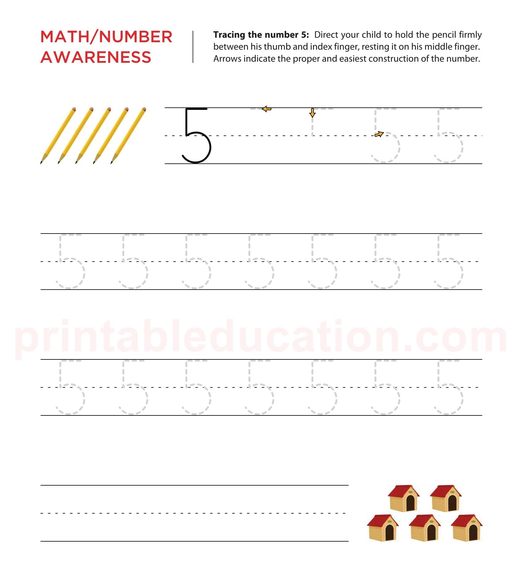 Tracing Number Practice Worksheet