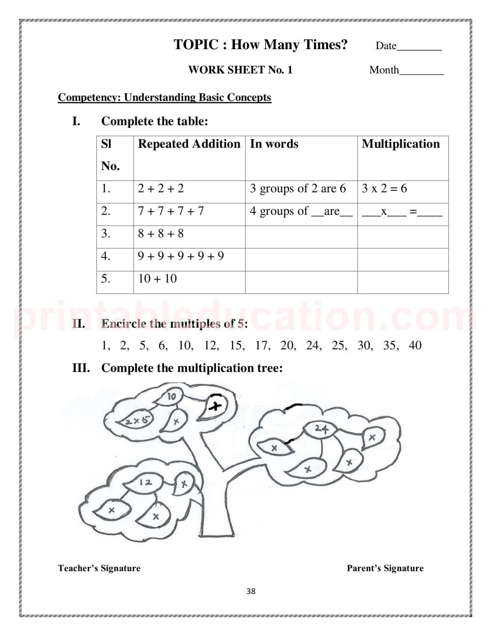 medium resolution of Mathematics Worksheets For Class 3 Kids   PrintablEducation