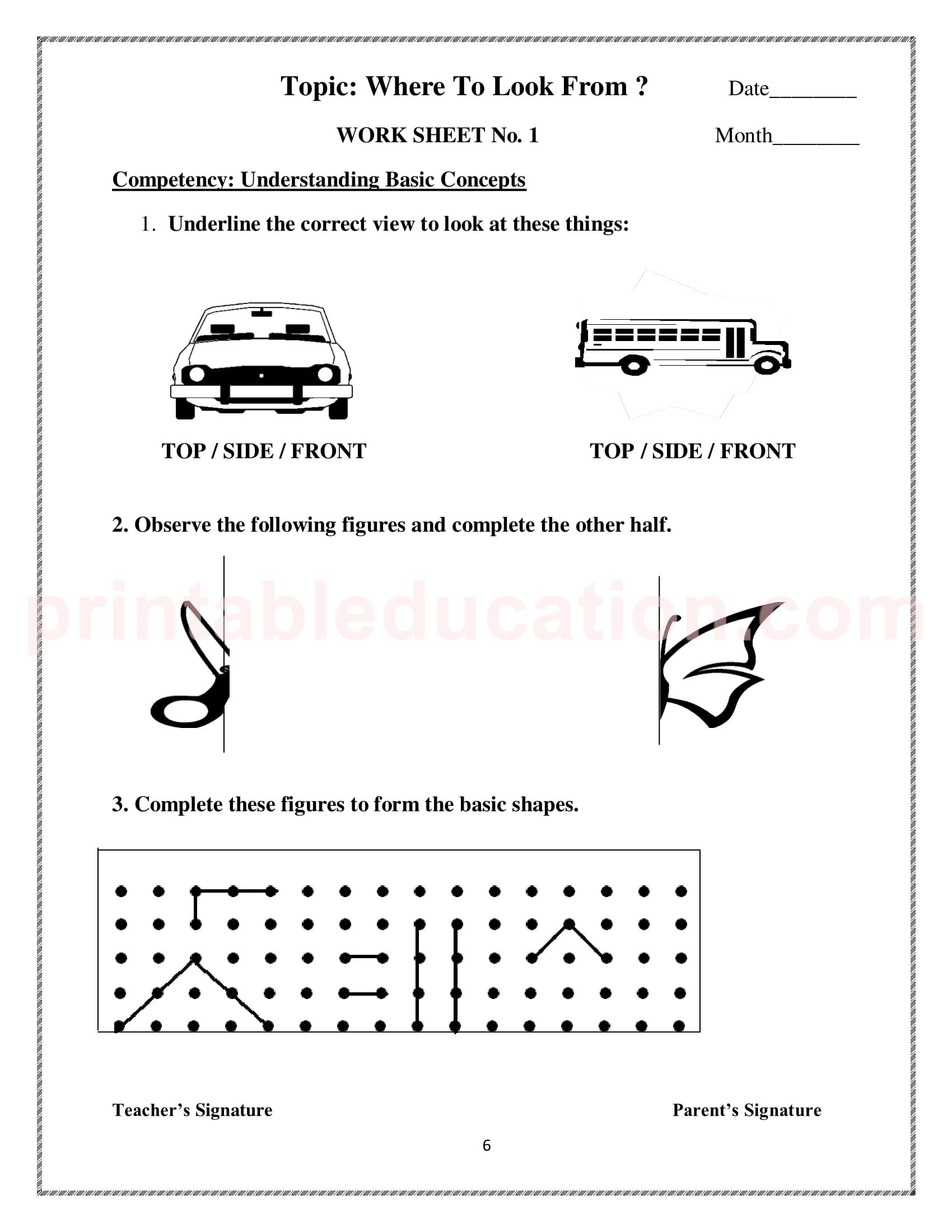 Kindergarten And Nursery Kids Worksheets