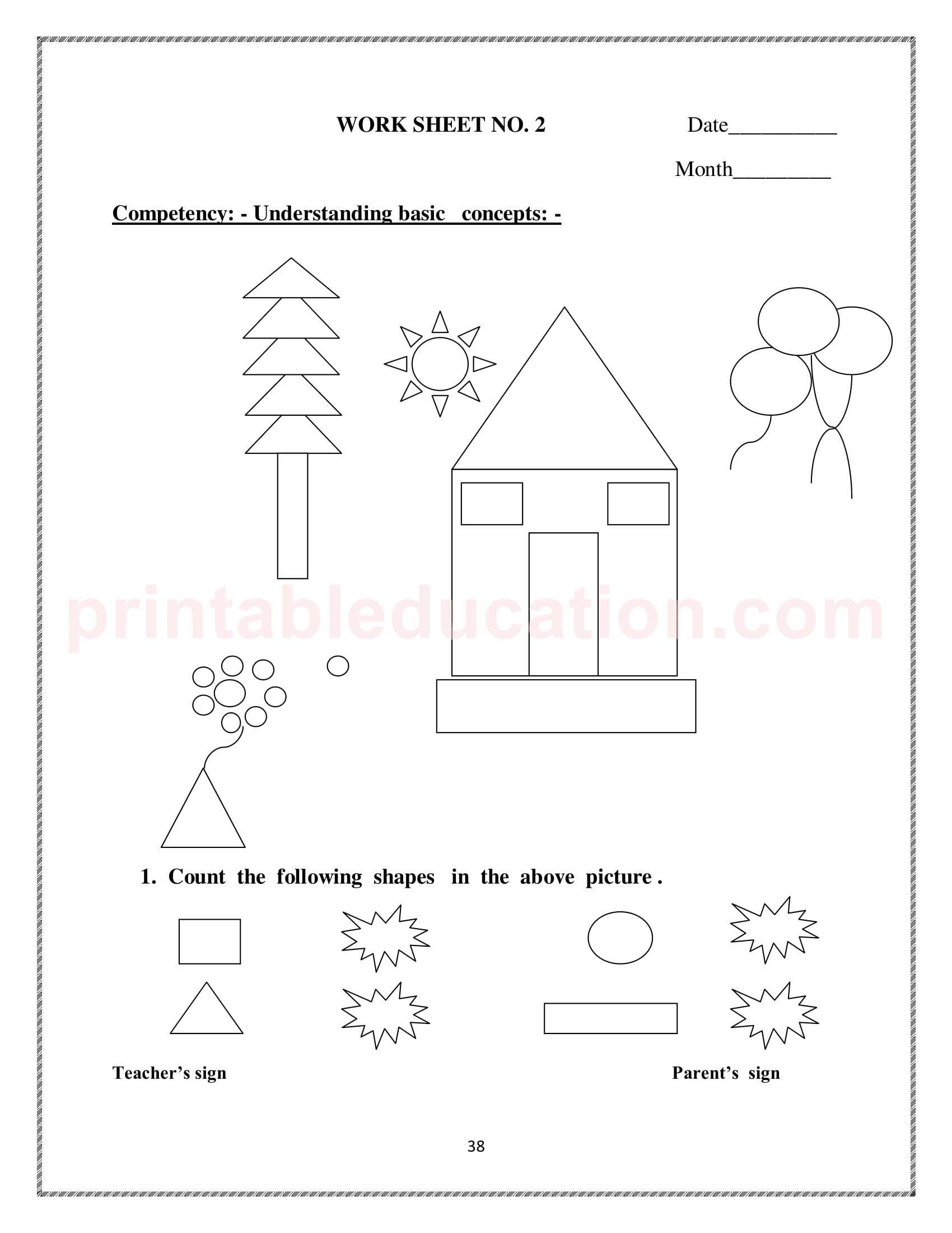Grade One Mathematics Worksheet For Kids