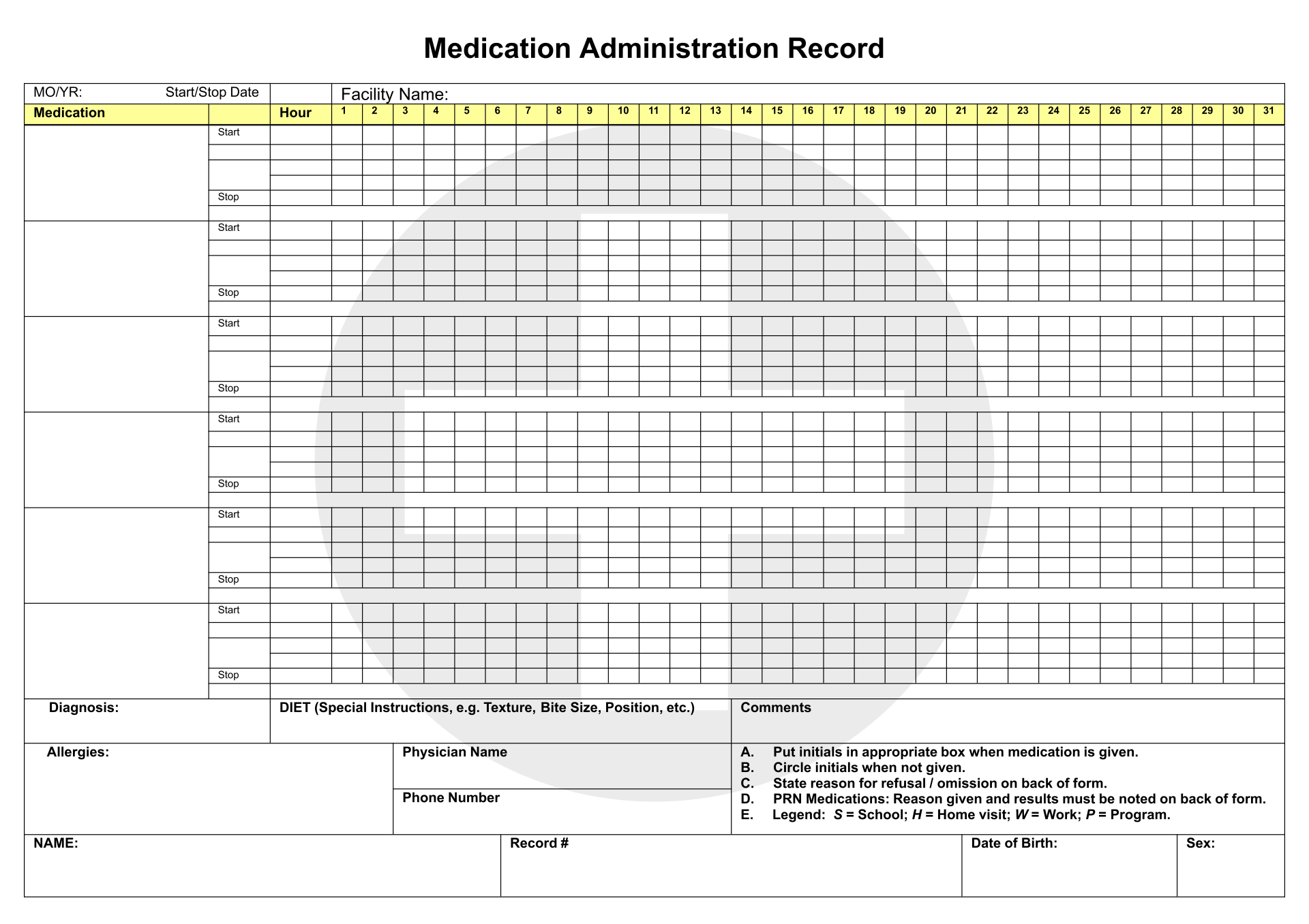 9 Best Printable Medication Administration Record Template