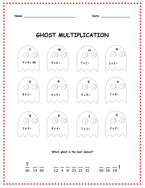small resolution of 5 Best Multiplication Halloween Worksheets Printables - printablee.com