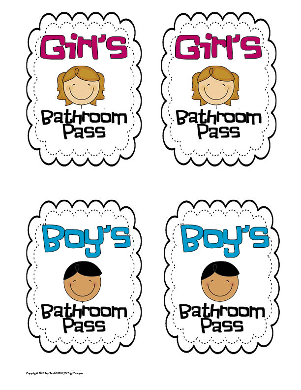 7 Best Images Of Printable For Bathroom Passes Students