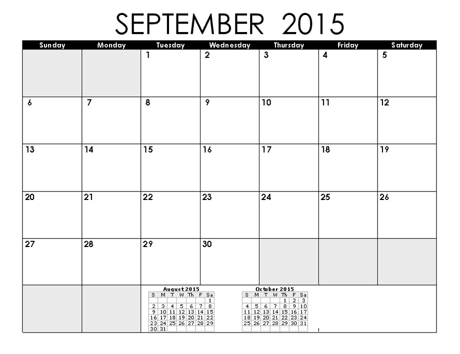 8 Best Images Of September 2015 Printable Calendar By