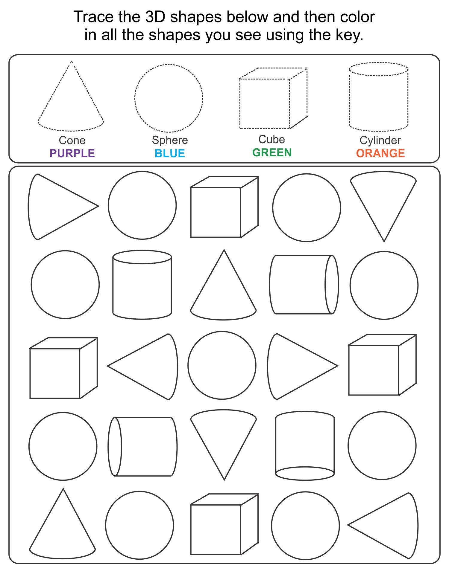 hight resolution of 5 Best Printable 3D Shapes Kindergarten - printablee.com