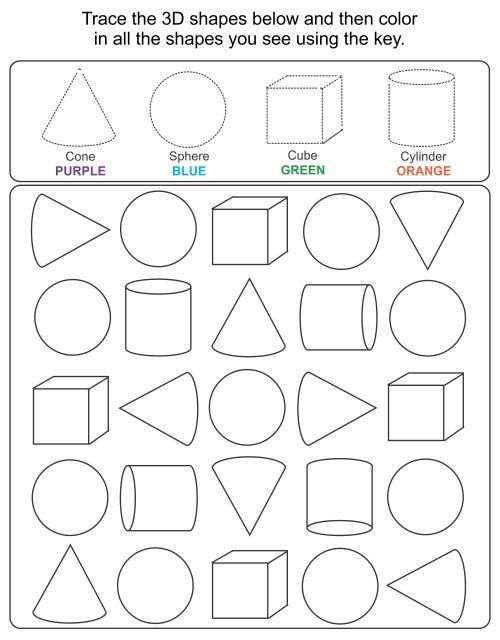 small resolution of 5 Best Printable 3D Shapes Kindergarten - printablee.com