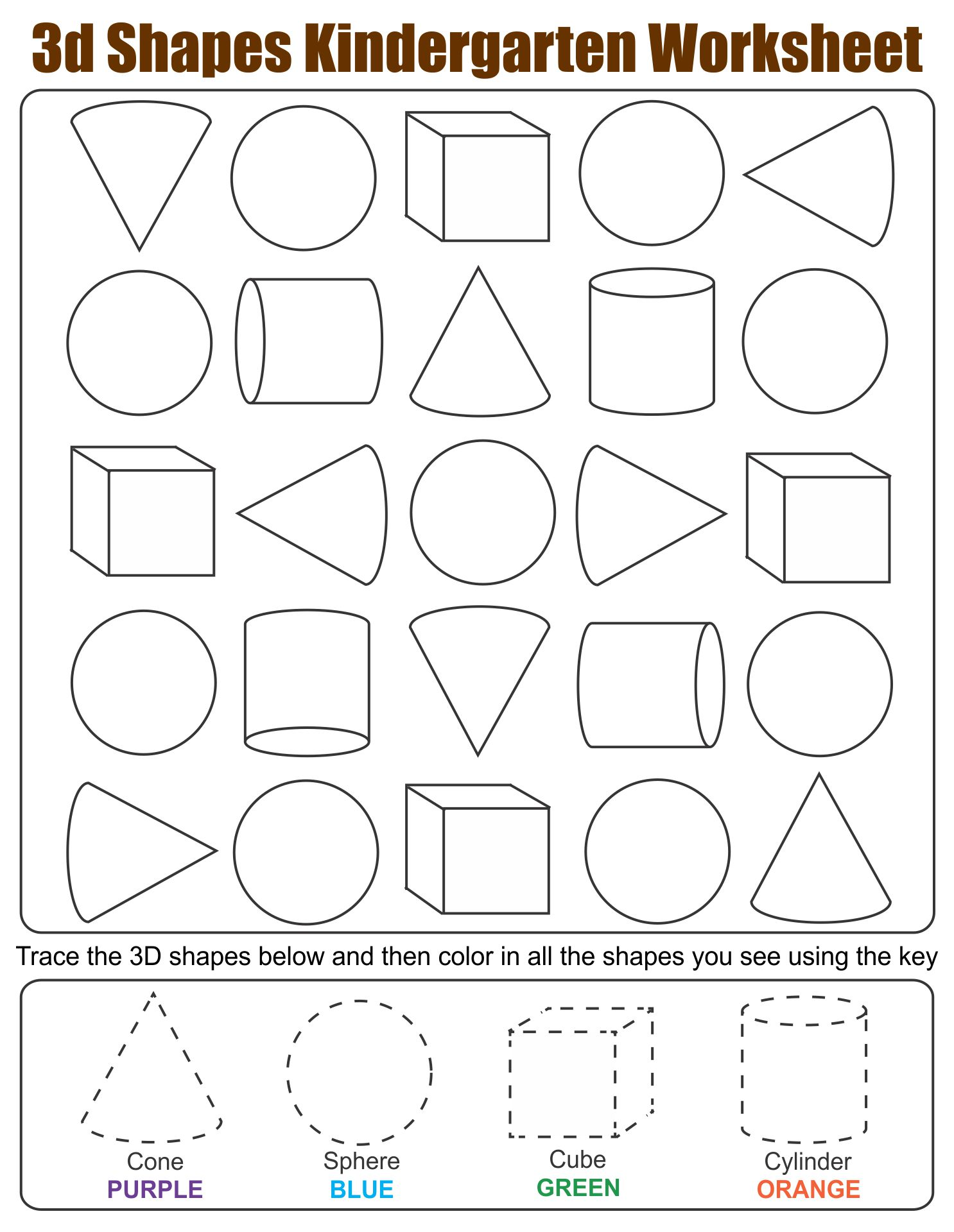 hight resolution of 4 Best 3D Shapes Worksheets Printables Kindergarten - printablee.com