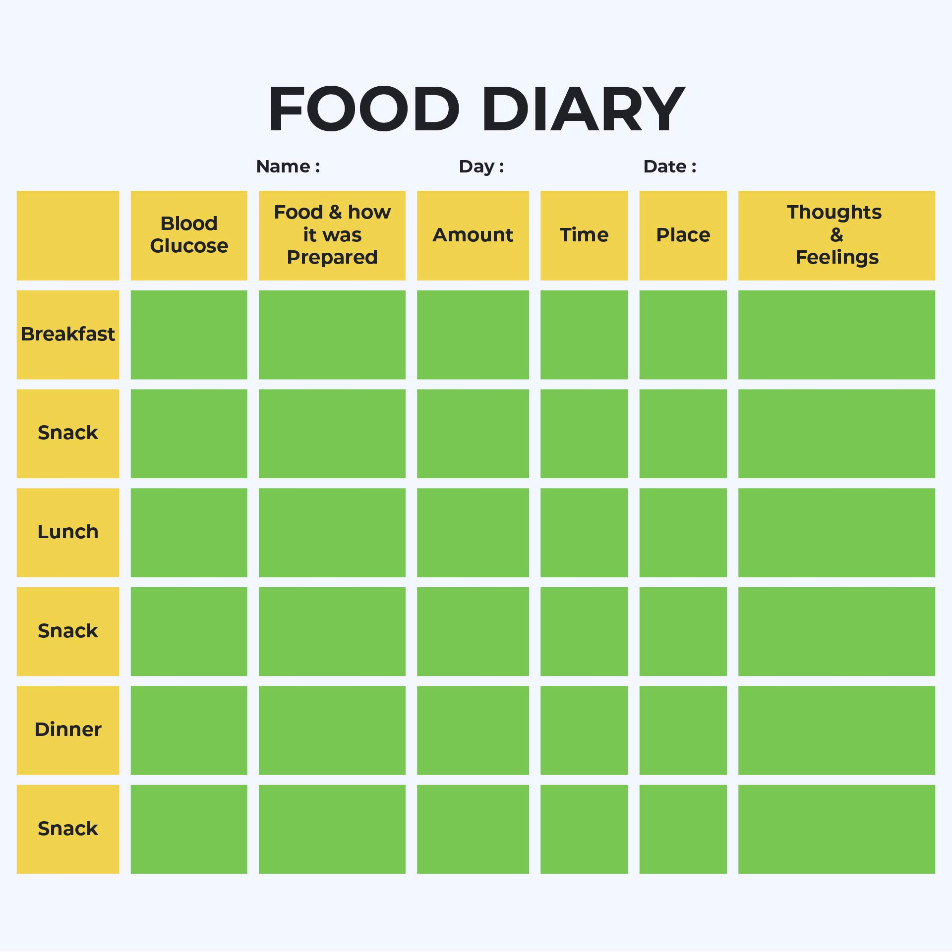 8 Best Images Of Diabetic Food Log Sheets Printable