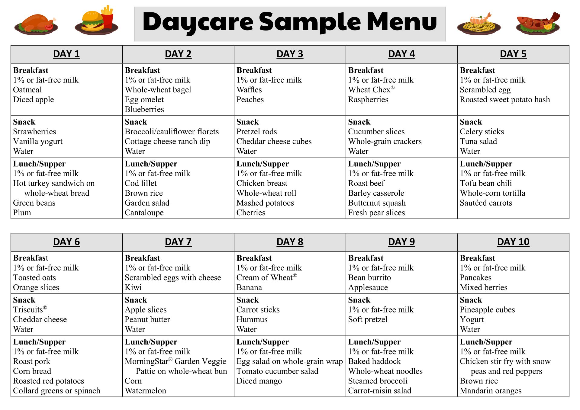 8 Best Images Of Printable Menus Daycares  Sample Daycare