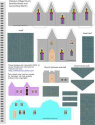 printable paper houses template buildings miniature village scale printables christmas templates putz simple church 3d glitter cardboard crafts ho building