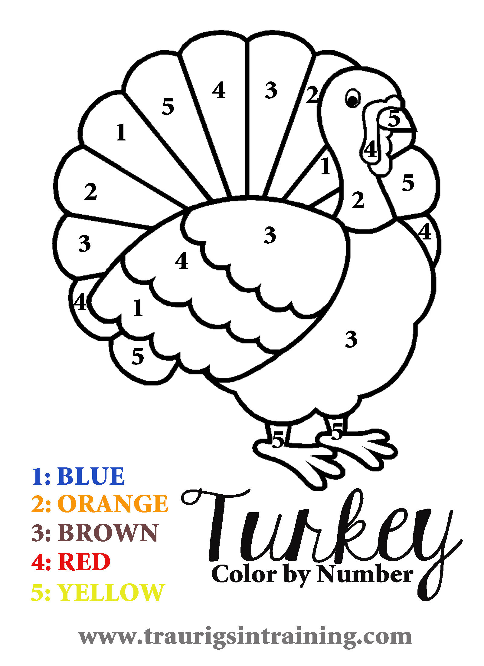6 Best Images Of Free Printable Color By Number Turkey