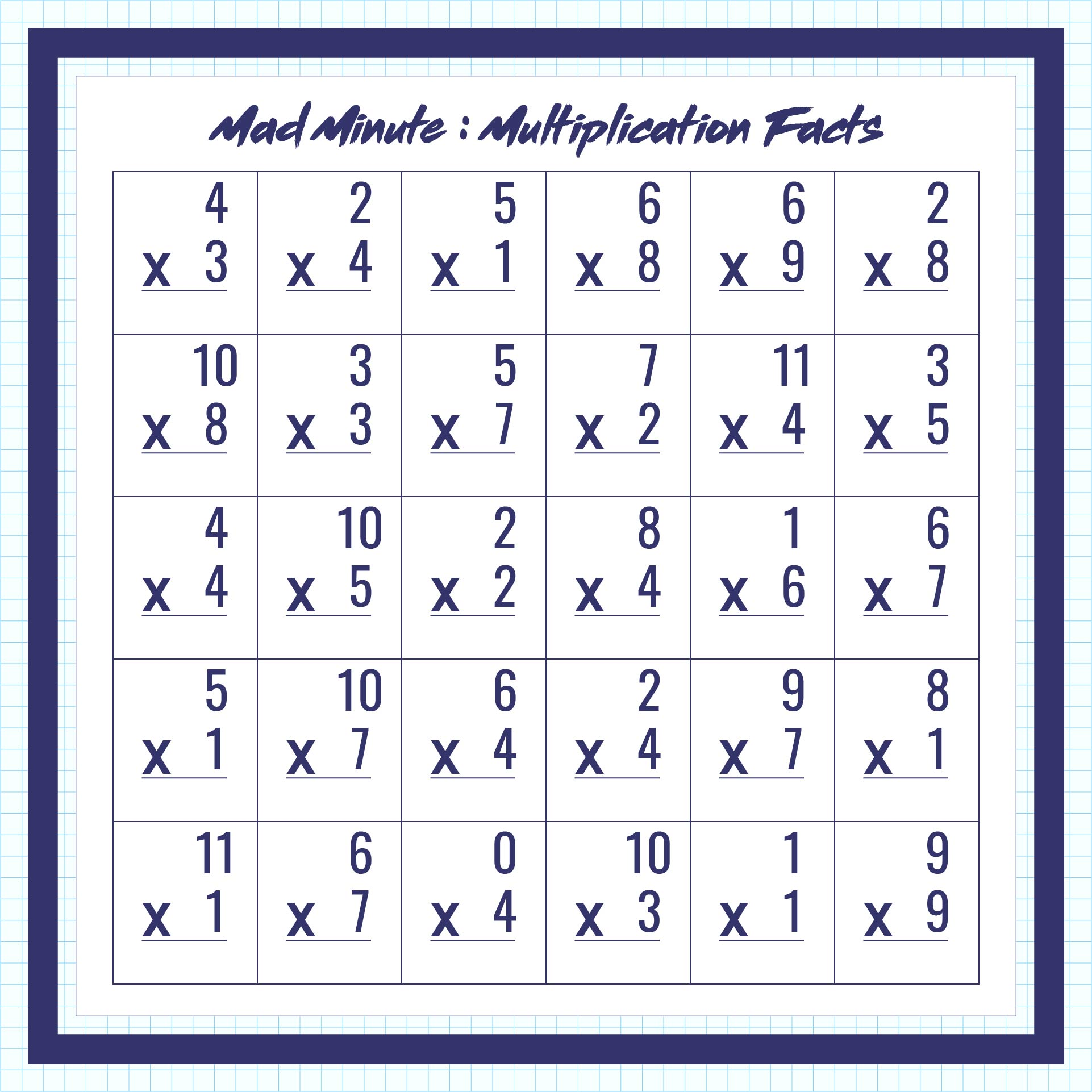 Mad Minute Math Worksheets  Mad Minute Math Worksheets For 1st Grade On Study Multiplication