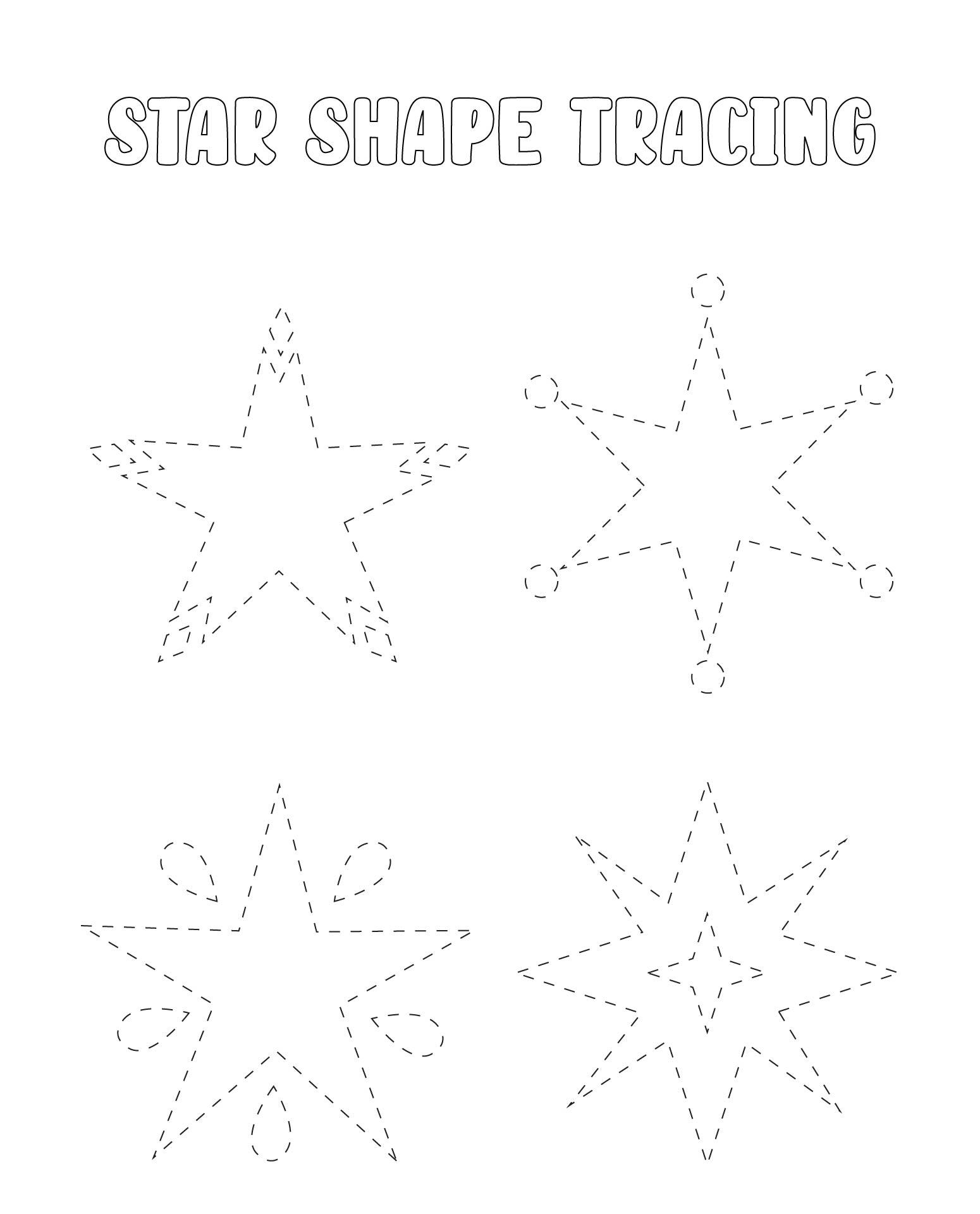 6 Best Images Of Printable Preschool Worksheets Star Tracing  Stars Preschool Cutting Worksheet
