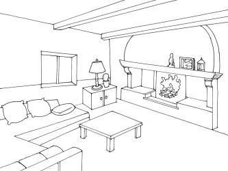 Living room #63244 Buildings and Architecture Printable coloring pages