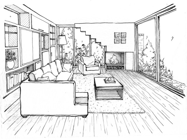 Drawings Living room (Buildings and Architecture) – Printable